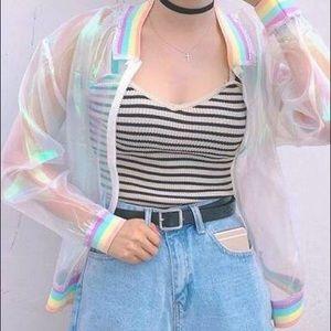 Dolls Kill Rainbow see through jacket